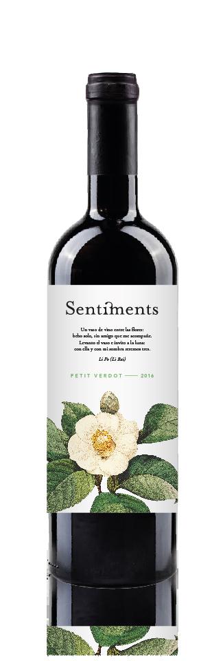 Botella Sentiments Petit Verdot 2016 - Vino de la tierra de Castilla- Minaya (albacete) - Bodegas Bonjorne